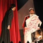 Alberto Cossu, Stefano Carta e Laura Sanna in Giulio Cesare di William Shakespeare, Liceo Canopoleno, Sassari, 2014